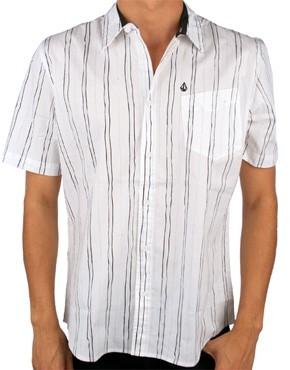 Volcom Pit stripe shirt short sleeve white