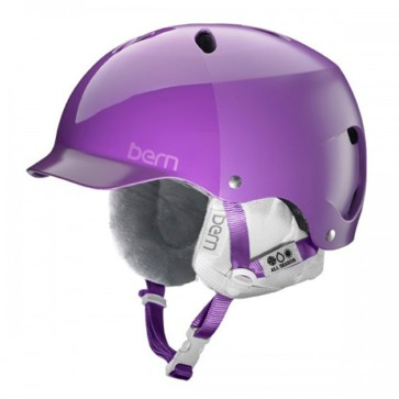 Bern Lenox EPS Satin purple hatstyle snowboard helmet with white liner