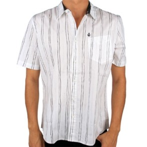 Volcom Pit stripe shirt short sleeve white