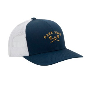 Low profile 6-panel trucker hat Curved visor Embroidered logo on front Dark Seas woven label branding