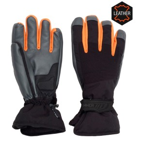 Sinner Wolf leather ski glove black-orange