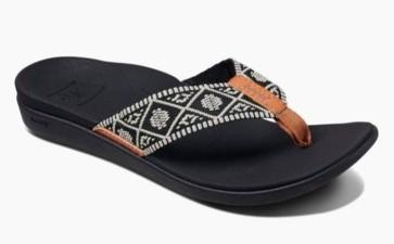Reef Ortho-Bounce woven female slippers black-white