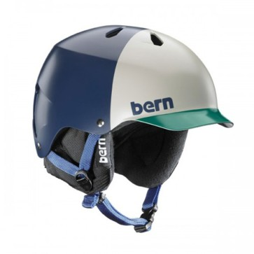 Bern Watts EPS Matte snowboard helmet navy blue hatstyle with black liner