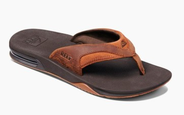 Reef Leather Fanning slippers bronze