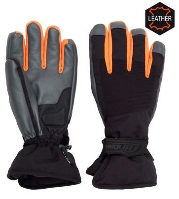 Sinner Wolf leather ski glove black-orange