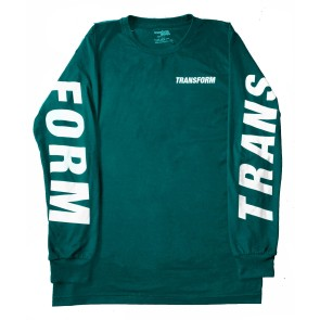 Transform The Fast text long sleeve t-shirt teal