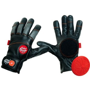 Blood Orange Leather Slide Gloves black-red