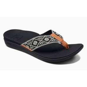 Reef Ortho-Bounce woven female slippers black-white